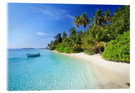 Acrylic print  Tropical beach with palms, Maldives - Matteo Colombo