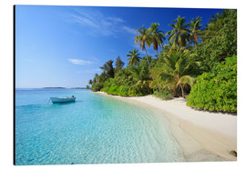 Aluminium print  Tropical beach with palms, Maldives - Matteo Colombo