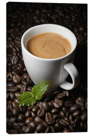 Canvas print  Cappuccino coffee cup beans - pixelliebe