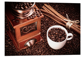 Foam board print  Coffee beans with grinder, cinnamon and cup - pixelliebe
