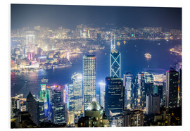 Foam board print  Hong Kong city and harbour at night - Matteo Colombo