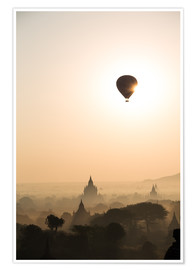 Premium poster Sunrise with balloon, Bagan
