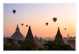 Premium poster  Balloons and temples, Bagan - Matteo Colombo
