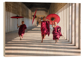 Wood print  Young monks running - Matteo Colombo