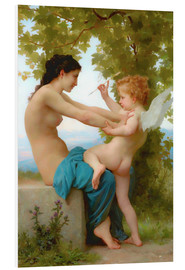Foam board print  A young girl defending herself against Eros - William Adolphe Bouguereau