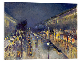 Foam board print  Boulevard Montmartre at night - Camille Pissarro