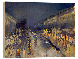Wood print  Boulevard Montmartre at night - Camille Pissarro