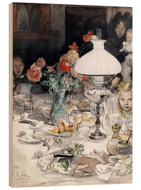 Wood print  Around the lamp at evening - Carl Larsson