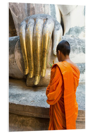 Foam board print  Monk praying in front of Buddha Hand - Matteo Colombo