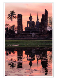 Premium poster  Wat Mahathat in evening light - Matteo Colombo