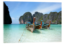 Acrylic print  Long tail boats at Maya bay beach, Phi Phi island, Thailand - Matteo Colombo
