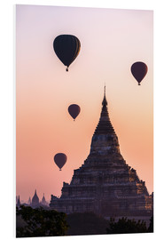 Foam board print  Temple at sunrise with balloons flying, Bagan, Myanmar - Matteo Colombo