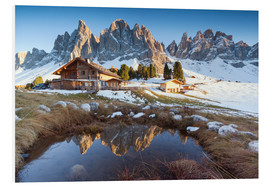 Foam board print  Hut and Odle mountains, Dolomites - Matteo Colombo