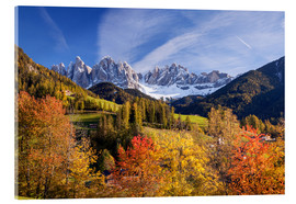 Acrylic print  Autumnal Funes valley, South Tirol - Matteo Colombo