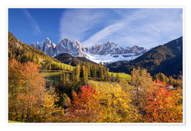 Premium poster  Autumnal Funes valley, South Tirol - Matteo Colombo