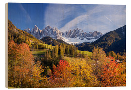 Wood print  Autumnal Funes valley, South Tirol - Matteo Colombo