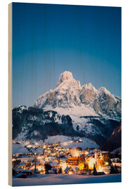 Wood print  Corvara in Badia in winter, Dolomites, South Tirol, Italy - Matteo Colombo