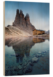 Wood print  Vajolet towers in the Dolomites - Matteo Colombo