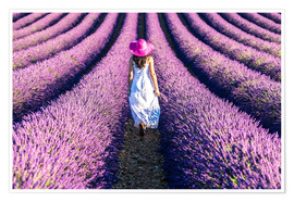 Premium poster  Girl in a lavender field - Matteo Colombo