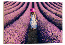Wood print  Girl in a lavender field - Matteo Colombo