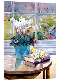 Acrylic print  Flowers and book on table - Julia Rowntree