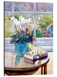 Aluminium print  Flowers and book on table - Julia Rowntree