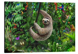 Aluminium print  Sloth in the jungle - Adrian Chesterman