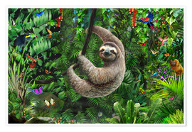 Premium poster  Sloth in the jungle - Adrian Chesterman