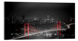 Acrylic print  Bosporus-Bridge at night - color key red (Istanbul / Turkey) - gn fotografie