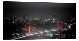 Canvas print  Bosporus-Bridge at night - color key red (Istanbul / Turkey) - gn fotografie