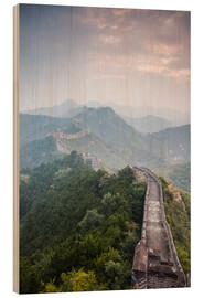 Wood print  Great Wall of China in fog - Matteo Colombo