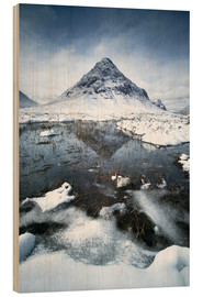 Wood print  Snow covered Buachaille Etive Beag, Glencoe, Scotland - Matteo Colombo