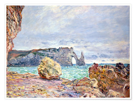 Premium poster  Etretat, beach and Falaise d'Aval - Claude Monet