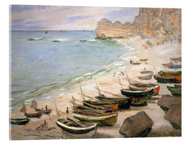 Acrylic print  Boats on the beach at Etretat - Claude Monet