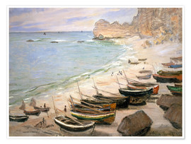 Premium poster  Boats on the beach at Etretat - Claude Monet