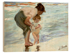 Wood print  Mother and child on the beach - Joaquín Sorolla y Bastida