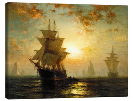 Canvas  Sailboats at sunset - Edward Moran