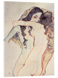 Acrylic print  Two women in embrace - Egon Schiele