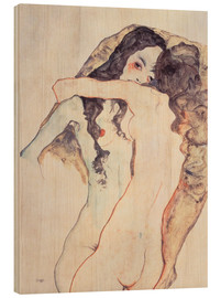 Wood print  Two women in embrace - Egon Schiele
