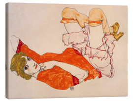 Canvas print  Wally in a red blouse with knees lifted up - Egon Schiele