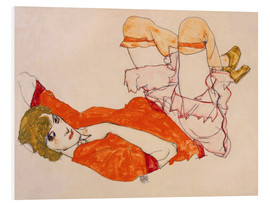 Foam board print  Wally in a red blouse with knees lifted up - Egon Schiele