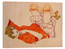 Wood print  Wally in a red blouse with knees lifted up - Egon Schiele
