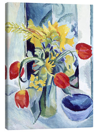 Canvas  Still life with tulips - August Macke