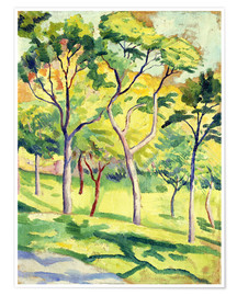 Premium poster  Trees on a lawn - August Macke