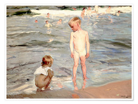 Premium poster  Children on the beach of Valencia - Joaquín Sorolla y Bastida