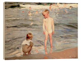 Wood print  Children on the beach of Valencia - Joaquín Sorolla y Bastida