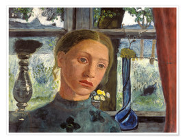 Premium poster  A girl's head in front of a window - Paula Modersohn-Becker
