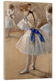Wood print  Dancer tying the loop - Edgar Degas