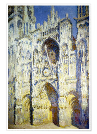 Premium poster  Rouen Cathedral, with tower Saint-Romain in sunlight - Claude Monet