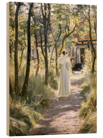 Wood print  Marie on a garden path - Peder Severin Krøyer
